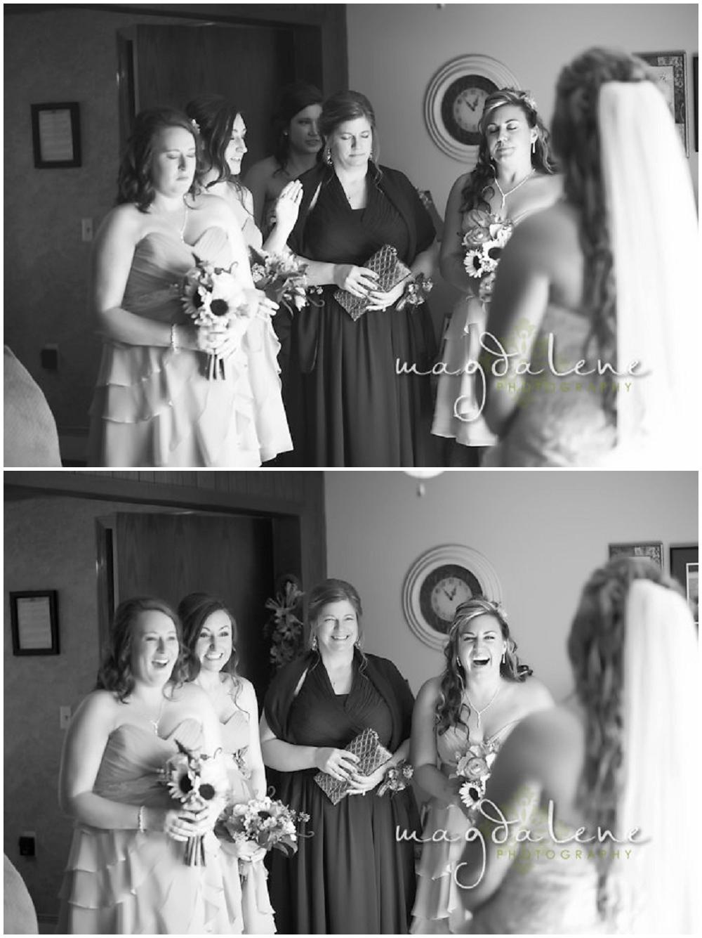 Wisconsin Wedding Photographer bridesmaids bride reveal